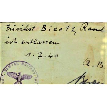 DOCUMENT D'EXPULSION DE LA KOMMANDANTUR D'AMBOISE 1940